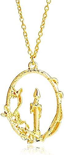 BEISUOSIBYW Co.,Ltd Collar de Moda de La Bella y La Bestia, Collares con dijes, Colgantes, Vela mágica, Collar Llamativo, Mujeres y niñas