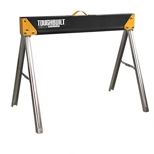 ToughBuilt - Folding Sawhorse/Jobsite Table - Sturdy, Durable, Lightweight, Heavy-Duty, 100% High Grade Steel, 1100lb Capacity, Easy Carry Handle - (TB-C300)