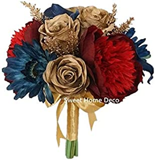 Sweet Home Deco Silk Peony Rose Calla Lily Mixed Wedding Bridal Bouquet Bridesmaid Bouquet Boutonniere in Burgundy/Gold/Navy Fall Wedding (Burgundy/Gold/Navy-8''W Round)