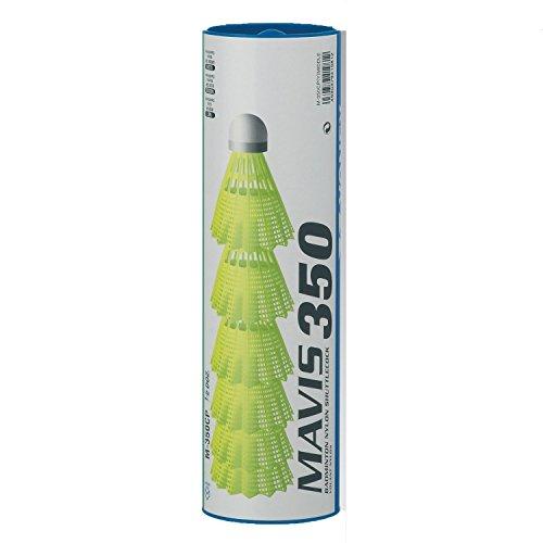 YONEX Mavis 350 Kunststoff-Federbälle, Gelb, mittlere Geschwindigkeit, 4 Stück (24 Stück)