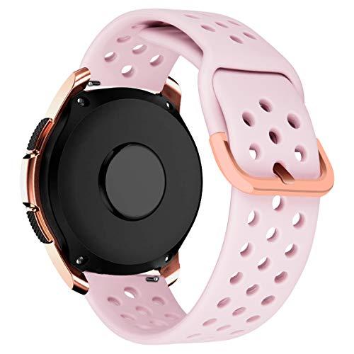 MroTech Correa 20mm Silicona Compatible Samsung Galaxy Watch 42mm/Active/Active2 40mm 44mm/Gear Sport Pulsera de Repuesto para Vivoactive 3/Ticwatch 2/E/C2/Huawei GT2 42 MM/Magic 2 42mm Band,Rosado