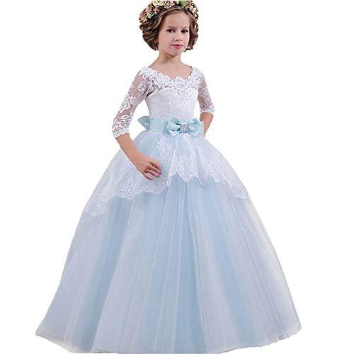 LZH Girls Pageant Vestido Bordado Princesa Fiesta de Boda Comunión Baile de Fiesta Vestidos de Gala