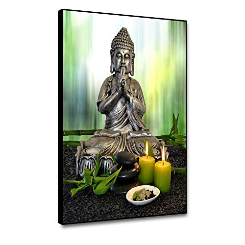 shensu Framed Canvas Wall Art Buddha Statue Prints Green Bamboo Candle Picture Wall Decor for Living Room Bedroom Bathroom Kitchen Office Artwork Modern Home Decoration 12x16inch
