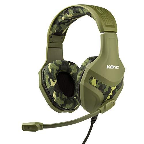 Konix PS-400 Camo – Gaming-Kopfhörer, PS4, Camouflage, kompatibel mit Xbox One, PC, Tablet, Smartphone – hohe Audio-Qualität – Gaming Headset mit Mikrofon, NATO, Normal
