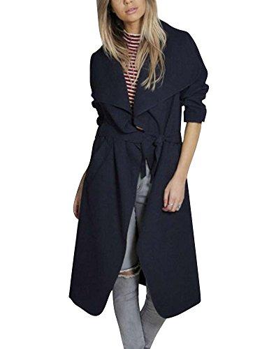 Minetom Mujeres Otoño Invierno Elegante Waterfall Chaquetas Jacket Abrigos Manga Larga con Belt Trench Coat Outerwear Azul Oscuro ES 36