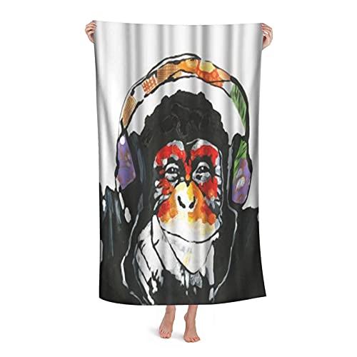 Grande Suave Ligero Microfibra Toalla de Baño Manta,Retrato de chimpancé Animal Divertido con Auriculares Coloridos,Hoja de Baño Toalla de Playa por la Familia Hotel Viaje Nadando Deportes,32' x 52'