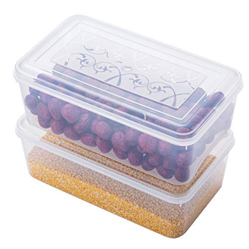 Plastic Storage Containers 2 Pack 45 Quart Clear Plastic Storage Boxs with Lids Stackable Plastic Organizer Bins Plastic Food Storage Bins for Refrigerator Freezer Kitchen Cabinets Bedrooms