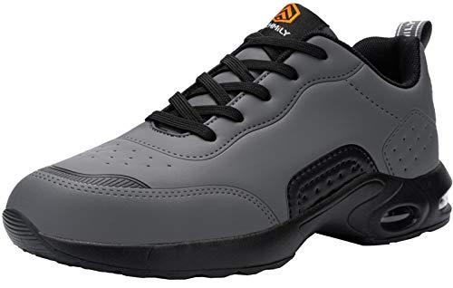 DYKHMILY Zapatillas de Seguridad Hombres, Colchón de Aire Zapatillas de Trabajo con Punta de Acero Zapatos de Seguridad Ultra Liviano Transpirable Comodo Construcción Zapatos(Gris Negro,43EU)