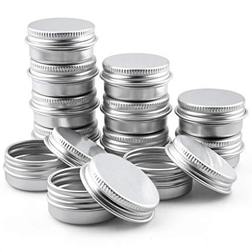 Enenes Lot de 12 bocaux en aluminium - Rondes - En aluminium - Avec couvercle à visser - Pour bricolage, artisanat, salve, bougie, voyage