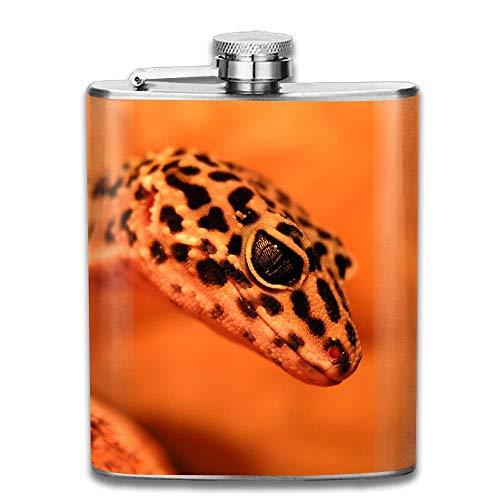 Rundafuwu Edelstahlflasche Stainless Steel Hip Flask 7 Oz (No Funnel) Red Little Gecko Full Printed