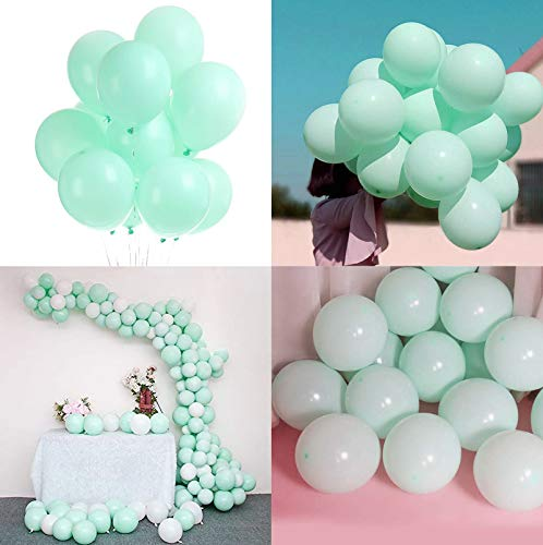 Sunshine smile Pastel Globos,Macaron Latex Balloon,Globos de Cumpleaños,Globos de Helio,Globos Boda,para Cumpleaños Decoración Fiesta Aniversario Baby Shower Comunión (Verde 100 Piezas)