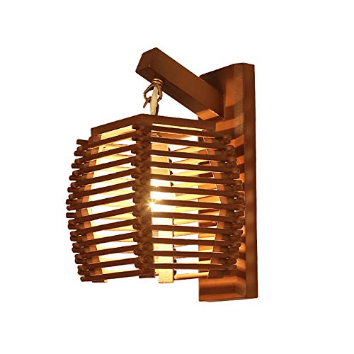Lámpara de Pared del Pasillo, Techo, iluminación de Pared Vintage en el Exterior Lámpara de Pared de bambú Vintage Creativa E27 lámpara Aplique Pared lámpara Dormitorio Pared Madera,Original Wood