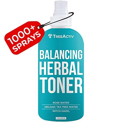 TreeActiv Balancing Herbal Toner | Remove Oil & Dirt | Natural Astringent to Balance Skin's pH Level | Rose Water, Clary Sage Water, Tea Tree Water & Witch Hazel | Men, Women, Teens | 4 fl oz