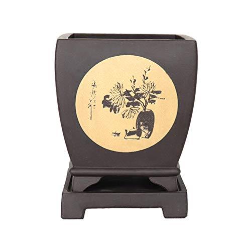 THUK Bonsaï de Sable Pourpre, Ornements en Pot, Pots de Fleur carrés Classiques pour Table d'intérieur, Simples Grands Pots de Fleurs d'orchidées,