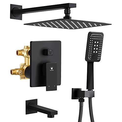 "Shower System, Wall Mounted Shower Faucet Set for Bathroom with 10"" Rain Shower head Handheld Shower Head Set, Pressure Balance Valve with Trim and Diverter, Matte Black"