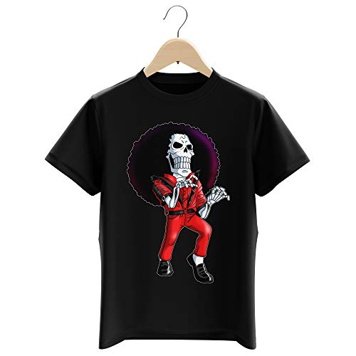 T-Shirt Enfant Garçon Noir Parodie One Piece - Brook - Thriller !! (T-Shirt Enfant de qualité Premium de Taille 11-12 Ans - imprimé en France)