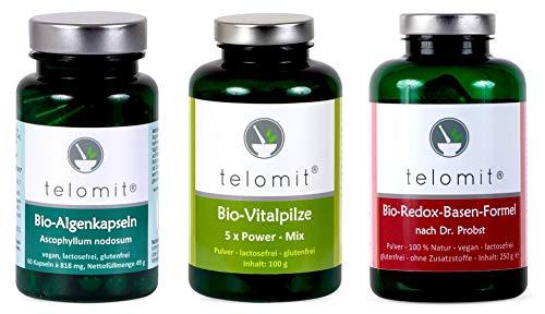 telomit - Bio-Algenkapseln (49 g), Bio-Vitalpilze 5 x Power-Mix (100 g) und Bio-Redox-Basen-Formel (250 g)