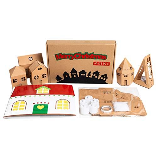 Amosfun Kit Natalizio Vacanze Natalizie Artigianato casa di Carta Illuminato Artigianato Natale Progetto Artistico per Bambini (con Candela in Scatola)