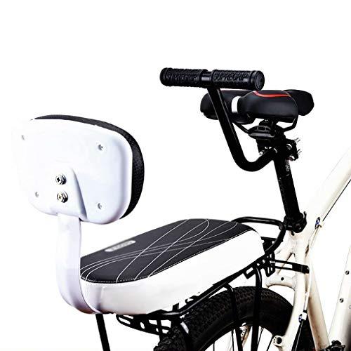 Asiento trasero de bicicleta, Asiento de ciclismo para niños con respaldo Cómodo cojín de seguridad para niños Asiento trasero para niños Asiento trasero de bicicleta para niños, estilo blanco dos, 37