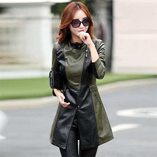 XL_nspiyi Lange Elegante Lederjacke für Damen-Grün_4XL