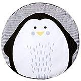 Baby Krabbeldecke Baumwolle Matt Kinderzimmer Kinderteppich groß und weich gepolstert Durchmesser ca.95cm Pinguin Muster Babyzimmer Dekoration
