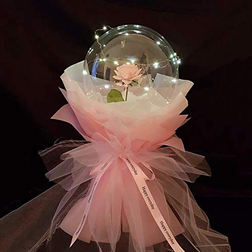 LED Balloons Decor LED Rose Bouquet Balloon Luminous Balloon Rose Bouquet Valentines Glowing Balloon Decor Transparent Bobo Ball with String Lights for Kids Birthday, Wedding Party Decorations