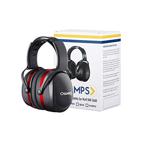 Shooting Earmuff, Champs Noise Reduction Safety Ear Muffs, Hearing Protection, Adjustable Headband, NRR 29dB Rated for Construction Work Shooting Range Hunting [Red]