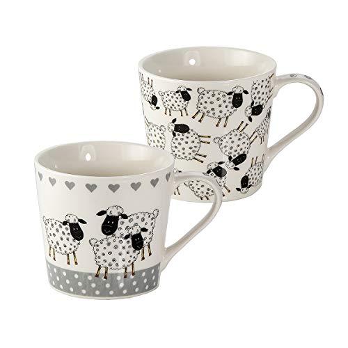 SPOTTED DOG GIFT COMPANY Tassen Set 2 Kaffeebecher Kaffeetassen Porzellan große 15oz Tassen, Schwarz und weiß Schaf-Design Geschenk für Frauen und Männer Tierliebhaber