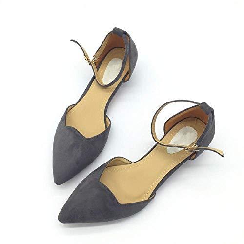 Sexy Frauen Schnalle Low Heels Pumps spitz Flock Heels Schuhe für Frau Damen einzelne Schuhe blau