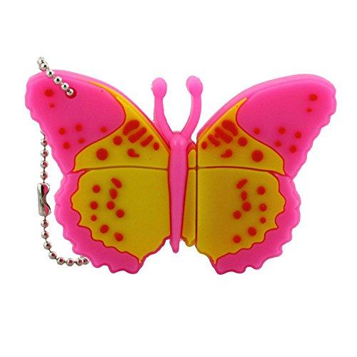 Cartoon Cute Beautiful Pink Butterfly Shape 128GB USB 2.0 Flash Drive Thumb Drive Memory Stick Jump Drive Novelty Pen Drive Storage U Disk Pendrive