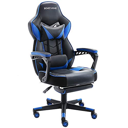 Bonzy Home Gaming Chair Computer Office Chair Ergonomic Desk Chair with Footrest Racing Executive Swivel Chair Adjustable Rolling Task Chair(Blue)
