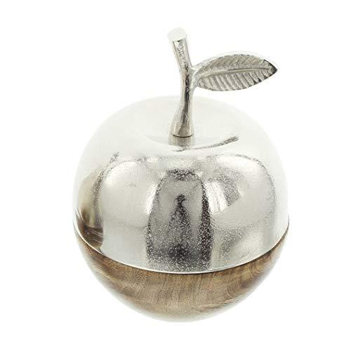 "Deko-Apfel ""Metallic-Wood"" aus Mango-Holz & Aluminium, Silber glänzend, im Antik-Look"