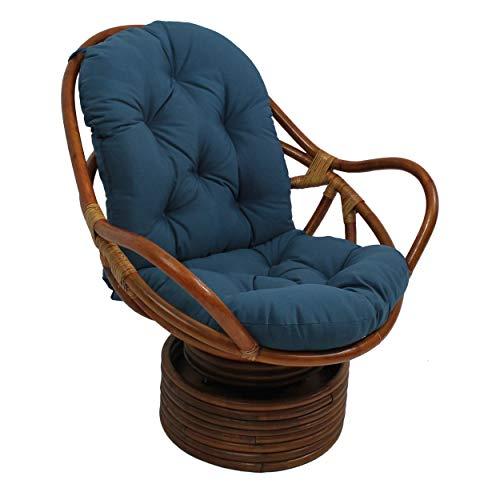 DTDD Cojín, cojín de ratán Suave y Duradero, cojín de Repuesto de balancín Giratorio para Interiores, para jardín y Patio (Este Producto no Incluye sillas), Azul