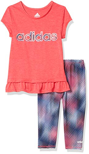 adidas Girls' Little Short Sleeve Top & Capri Legging Clothing Set, Always On Pink, 6X