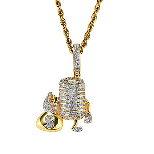 micrófono de dibujos animados con bolsa de dinero colgante para hombre de dibujos animados hip hop ice out collar jewelry-imitation_coated_rodem