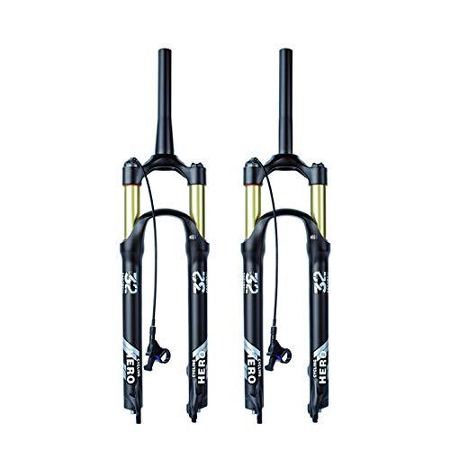 Aleación de magnesio MTB Suspensión Air Fork Bike Bike Tapón 27 27.5 29 Pulgadas 130-140mm Stroke Bicicleta Frontal Fork (Color : Brown)