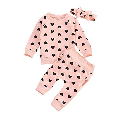 MoccyBabeLee Ropa floral para bebé recién nacido, sudadera de manga larga, pantalones con bolsillo, diadema, 3 piezas, estampado de margaritas