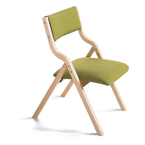 Rollsnownow Coussin vert étagère en bois Chaise pliante en bois massif Accueil chaise en tissu bureau et chaise fauteuil chaise d'ordinateur