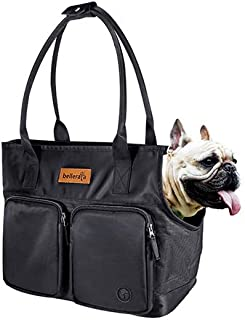 bellerata Dog Carrier Purse with Pockets, Portable Small Dog Soft-Sided Carriers with Adjustable Safety Tether, Versatile Pet Carrier Tote for Subway, Shopping, Black