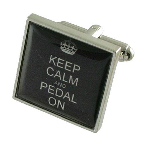 Fahrrad Pedal auf Schild Manschettenknöpfe für Herren Manschettenknöpfe Sterling Silber 925massiv + Nachricht personalisierbar Gravur Box