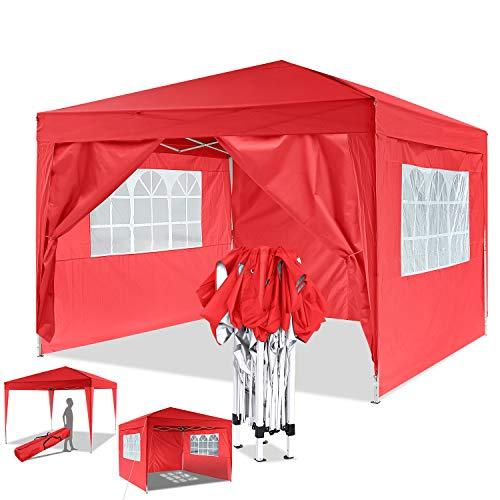 Bunao Garten 3X3M Wasserdicht Pavillon Partyzelt/Faltpavillon/Gartenpavillon/Gartenlauben/Party-Und Festzelt/Camping-Und Festival-Zelt/Hochzeit mit 4 Seitenteilen/Seitenwänden (Rot)