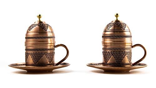 Kupfer Kaffeetassen Set für 2 Person -Espressotassen- Kaffeeset-Mokkatassen - Spezielle türkische Kaffe/Mokka tassen - Orientalische Kaffeetasse (Modell3)