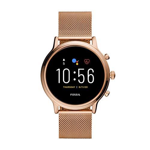 Fossil Gen 5 Julianna - Touchscreen Smartwatch Edelstahlgehäuse und Armband in Roségold mit Lautsprecher, Herzfrequenz, GPS, NFC für Damen - FTW6062 (erneuert)