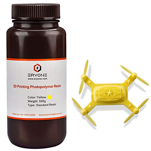 ERYONE 405nm UV Resin for DLP LCD 3D Printer Photopolymer Translucent, Ultralow Odor High Precision Can Mix, 0.5 kg Yellow