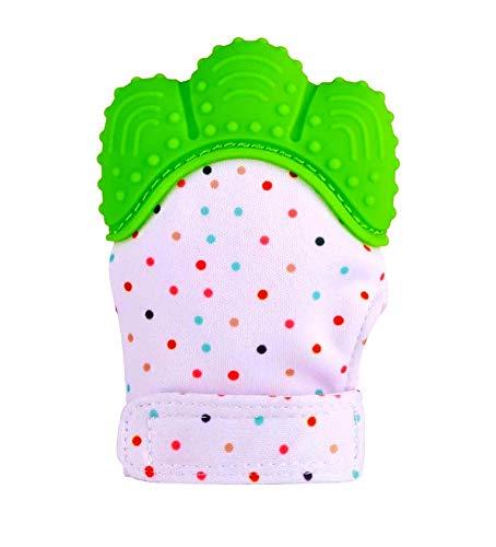 Funky Planet Gant de dentition Silicone, Gant de dentition Hygiénique, Silicone Mitaine de dentition pour le soulagement de la douleur auto-apaisant (green)