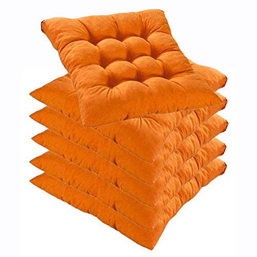 L.TSN YYRZ Wicker Seat Cushion, Indoor/Outdoor Patio Furniture Cushions Pad, with Ties for Non Slip, Superior Comfort and Softness, Chair Pads for Dining Chairs 40X40cm,Orange,6 Pack
