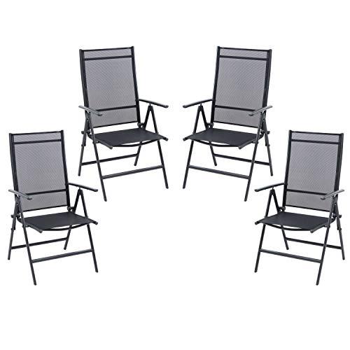 Ribelli Set sedie Pieghevoli sedie Campeggio Schienale Alto Sedia Giardino in Alluminio Esterno Poltrona Pieghevole, colorazione:Antracite/Set di 4