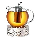 Creano Tetera de cristal de 1,5 l + hornillo de acero inoxidable, tetera de cristal con filtro de acero inoxidable y tapa de cristal, ideal para la preparación de té suelto, sin goteo