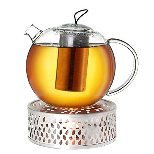 Creano Teekanne aus Glas 1,5l Jumbo + EIN Stövchen aus Edelstahl, 3-teilige Glasteekanne mit integriertem Edelstahl Sieb und Glasdeckel, ideal zur Zubereitung von losen Tees, tropffrei