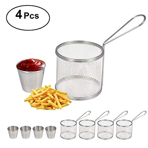 Fry Baskets, Mini Round Stainless Steel French Fries Mesh, Fryer Basket Holder with Sauce Cup, Cooking Tool, Designed for Chefs and Commercial Kitchens & Perfect for Your Home(4pcs)